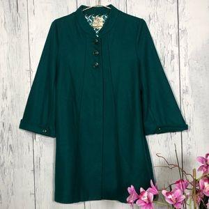 Tulle Teal Wool Blend Duster Coat 3/4 Sleeve Sz M